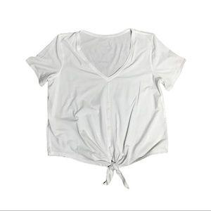 lululemon athletica Tops - Lululemon White V-Neck Short Sleeve Tie Front Tee